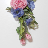 Ribbonwork Roses and Blue Morning Glories Pink Ribbon Work Flower Pin Applique Hair Clip