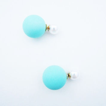 Turquoise Double Pearl Earrings