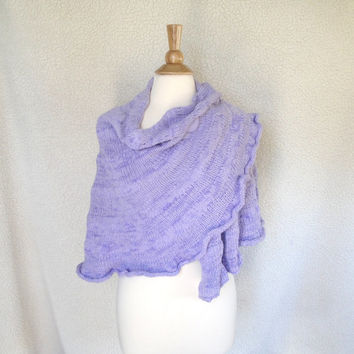 Knit Shawl Wrap, Lavender Purple, 100% Cotton, Women's Shawl, Crescent Half Circle, Swing Wrap