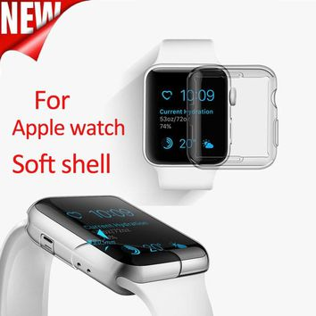 Transparent Cover for Apple Watch Case 38mm 42mm Plastic Soft Cover for Apple Watch Series 3 2 1 TPU Soft and Slim Protect Cover