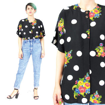 80s 90s Floral Polka Dot Shirt Vintage Black and White Polka Dot Blouse Rose Print Shirt Button Down Front Dolman Short Sleeve Shirt (M/L)