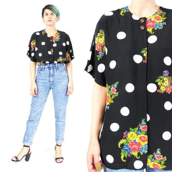 129f73fd 80s 90s Floral Polka Dot Shirt Vintage Black and White Polka Dot Blouse  Rose Print Shi
