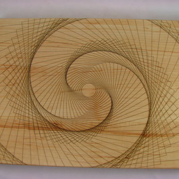 Edge Grain CUTTING BOARD - Large Solid Maple - Finger Jointed - Laser Engraved Spiral Pattern