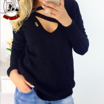 New fashion solid color hollow long sleeve top sweater Black