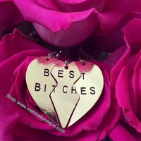 Broken  Heart 3 Parts Best Bitches Necklaces & Pendants - 2 colors