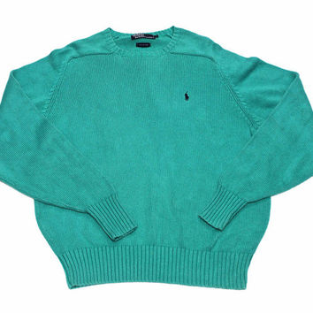 ffe585b296f8 Vintage Polo by Ralph Lauren Teal Sweater Mens Size Large