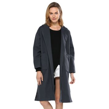 Simple Turn Down Pocket Design Wool Coat for Women
