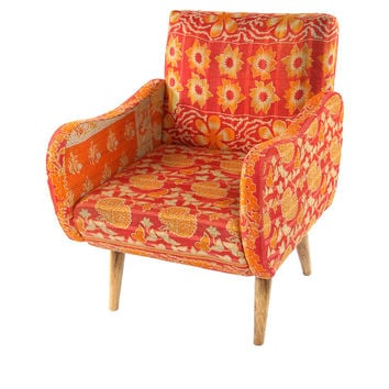 Kantha Accent Chair, Citrus/Red, Kantha Throw, Accent & Occasional Chairs