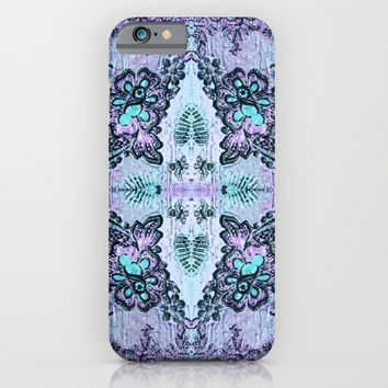 Bohemian Rose Lace in violet and blue iPhone & iPod Case by Fischer Fine Arts