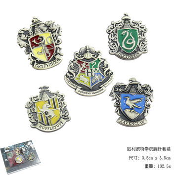 5pcs/set Harry Potter Metal Brooch Cosplay Badge Ravenclaw Hogwarts Slytherin Hufflepuff 2 Colors hwd