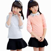 3-15Yrs Girls White Pink Blouse Lace School Blouse For Teen Girl Long Sleeve Shirts Spring & Autumn Fashion Shirt Kids Clothes