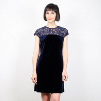 Vintage 90s Dress Navy Blue Velvet Dress Mini Dress Grunge Dress 1990s Dress Sheer Lace Dress Goth Dress Bandage Bodycon M Medium L Large