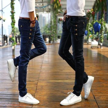 2017 New Men's black Slim Jeans Fashion Skinny Elasticity Jeans Male Ripped Jeans for Men Brand Clothing size 27-36