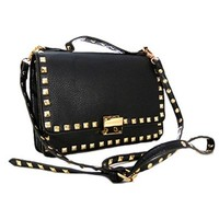 Cute! Pyramid Studs Small Club or Going Out Studded Messenger Satchel Bag Purse (Black)