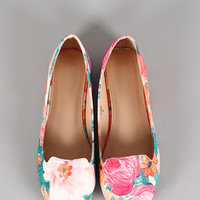 Leatherette Floral Round Toe Loafer Flat