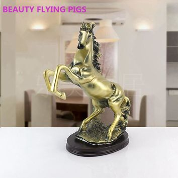 BEAUTY FLYING PIGS Fashion home decoration living room wine cabinet horse resin craft Sculpture Prayer Statue Figurine gift