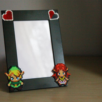 Legend of Zelda Photo Frame. Link & Malon. Black Picture Frame