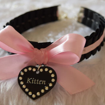 Kitten Engraved Personalised Heart Charm Crystal Gem Black Pink BDSM Collar Cosplay Choker Necklace Kitty Kitten Slave Pet Sub Neko