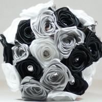 8 inch Silver, White and Black Satin Rose Wedding Bouquet