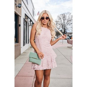 Without A Doubt Lace Dress (Misty Pink)