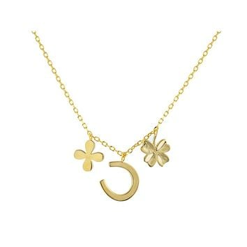 Four Leaf Clover & Horseshoe Multi-Charm Pendant Necklace