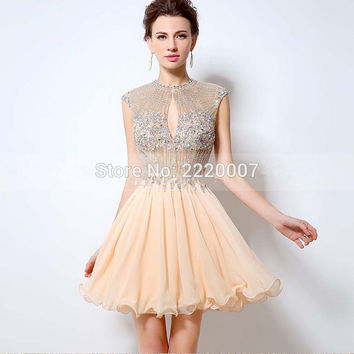 New Fashion Cap Sleeve Open Back Sparkly Beads Short Chiffon Party Dress Prom Dresses Above knee Mini Beading Evening dress