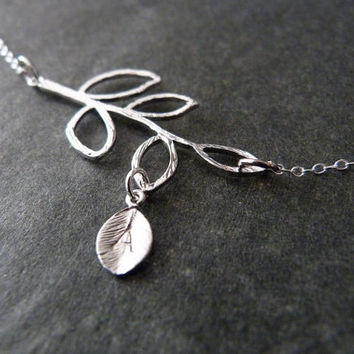 Family Necklace STERLING SILVER Custom Branch with Initial Leaf Charm, Mother gift, Mother to be gifts