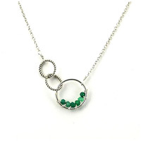 Twisted Links Necklace: Silver/Green Onyx - Brette Jewelry
