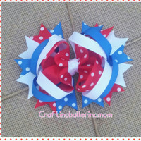 4th of July Hair Bow Polka Dot - 4th of July Bow Headband - Red White Blue Stars - Baby Toddler 4th of July - Girls Hair Bow - Layered
