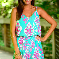 Like Me Now Romper, Mint/Pink