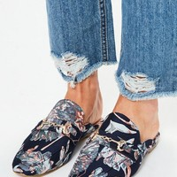 Missguided - Navy Jacquard Print Mules