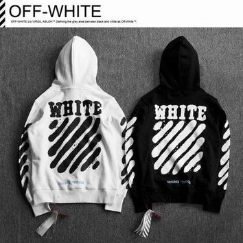 2017 Off White Printing Paint Arrow Hooded Sweater M--XXL