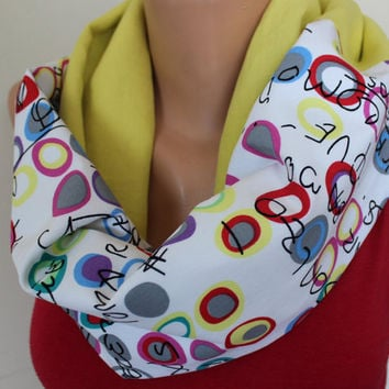 Yellow White Linen Loop Scarf, Colorful Writing Scarf, Fashion Women Scarf, Geometrical Circle Scarf, Scarf Angel, Text Scarf, Writing Scarf