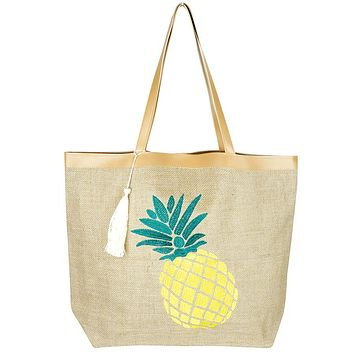 Pineapple Jute Tote with Tassel