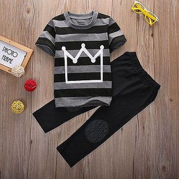 2016 New Summer Baby Toddler Kids Boys Clothes Tops Pants 2PCS Outfits Tracksuit set 2-8Y