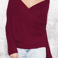 Burgundy Irregular Off Shoulder V-neck Long Sleeve Pullover Sweater