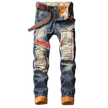 Men Vintage Ripped Holes Thicken Pants Jeans [1574710247517]