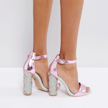 Lost Ink Sequin Round Heeled Sandals at asos.com