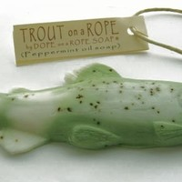 Trout Soap on a Rope  - Green Peppermint and Eucalyptus Oil - Gifts for Him -Valentines Day - Fly Fishing - Best Gifts