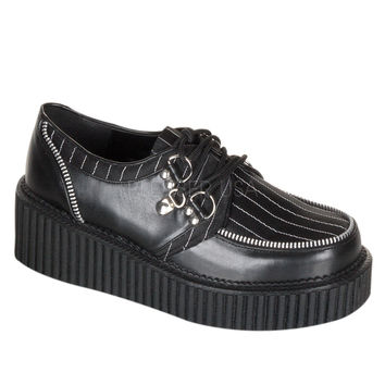 "Demonia Ladies Creeper 113 Black Pin Stripe Inset Oxford 2"" Platform"