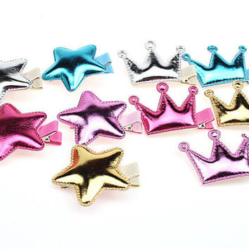 Crown and Star Girl hair accesories PU Shining wedding  clip for bridesmaides