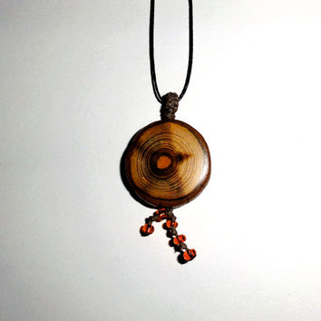 Orange Hole wood pendant - Original Handmade Wooden Pendant art Explosion Models Jewelry Accessories - Boho Tree of Life Women Wood Necklace