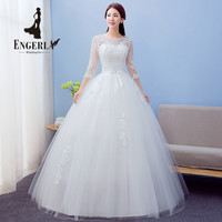 High Quality Bow Knot Lace Wedding Dress Plus Size Sweet Princess Bridal Ball Gown Three Quarter Sleeves Tulle Ball Gown 2016