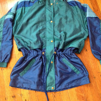 Vintage Lavon Windbreaker Track Jacket Lightweight Jacket with Drawstring Scrunch Waist Blue Colorblock sz Medium