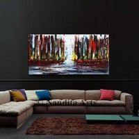 """Red Cityscape Skyline Painting on Canvas, Abstract original painting, Architecture wall art, Large Wall Art by Nandita, Size 24x48""""/61x122cm"""