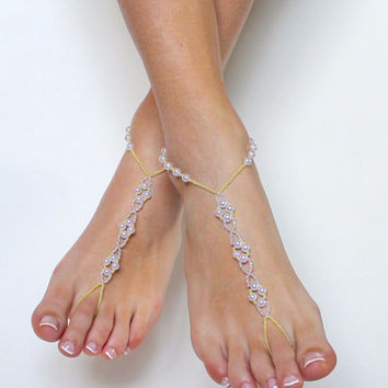 Pale yellow and Pearl Barefoot Sandals Bridal Beaded Foot Jewelry Anklet Custom Bare Sandals