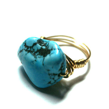 "Turquoise Ring Huge Nugget ""Sleeping Beauty"" Aqua Gold Wire Wrapped Ring Size 9"