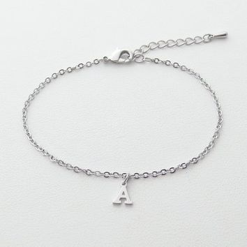 Personal, Letter, Initial, Upper case, Special font, Silver, Bracelet/ Anklet, Lovers, Friends, Mom, Sister, Gift