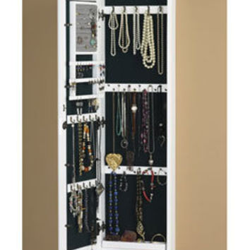 Wall-mount White Jewelry Mirror | Overstock.com