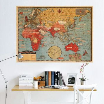 World Map Leather Sea Living Room Wall Sticker [9576041295]